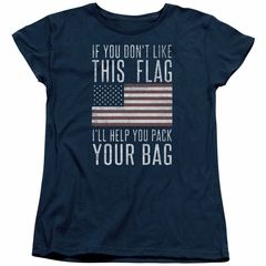 American Flag Womens Shirt Pack Your Bag Navy T-Shirt