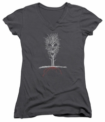 American Horror Story Juniors V Neck Shirt Scary Tree Charcoal T-Shirt
