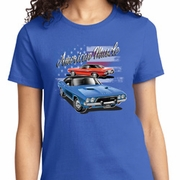 American Muscle Blue and Red Ladies Dodge Shirts