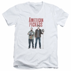 American Pickers Slim Fit V-Neck Shirt Mike And Frank White T-Shirt