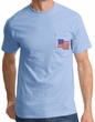 American T-Shirt  USA Waving Flag Embroidered Patch Pocket Light Blue