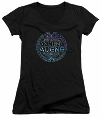 Ancient Aliens Juniors V Neck Shirt Symbol Logo Black T-Shirt