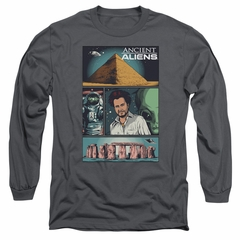 Ancient Aliens Long Sleeve Shirt Comic Page Charcoal Tee T-Shirt