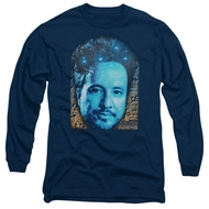 Ancient Aliens Long Sleeve Shirt Giorgio Tsoukalos Navy Blue Tee T-Shirt