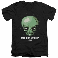 Ancient Aliens Slim Fit V-Neck Shirt Will They Return Black T-Shirt