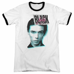 Andy Black Raised Eyebrow White Ringer Shirt