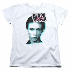 Andy Black Womens Shirt Raised Eyebrow White T-Shirt