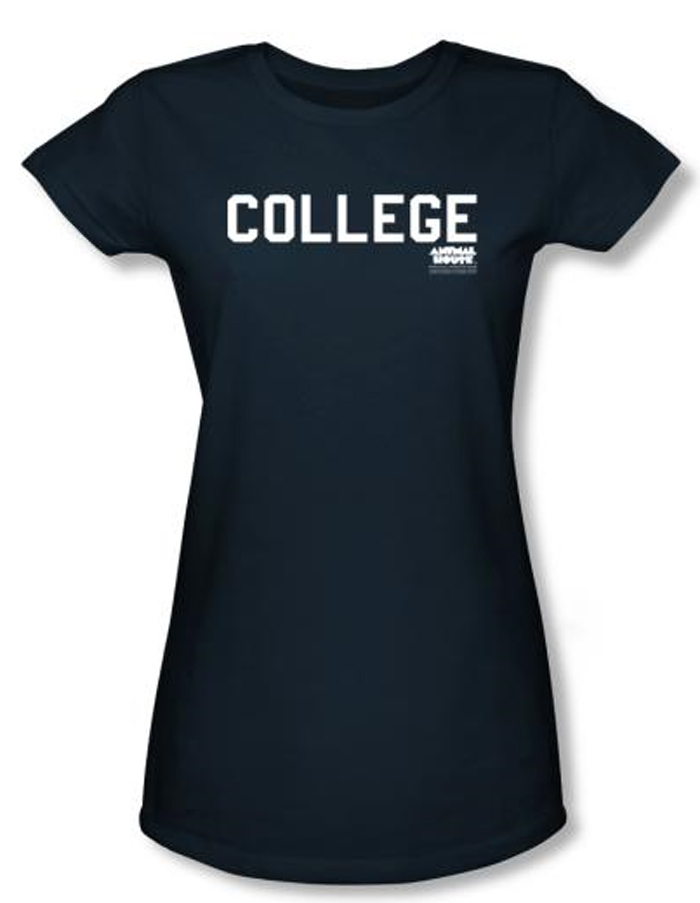 Animal House Juniors T Shirt Movie College Navy Blue Tee