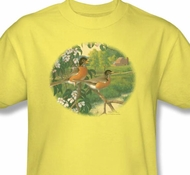 Apple Blossom Robins Adult Shirt - Yellow Wildlife Tee