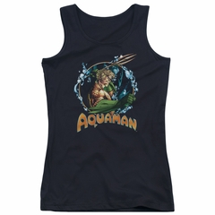 Aquaman Juniors Tank Top Ruler Of The Seas Black Tanktop