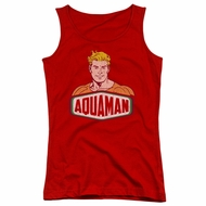 Aquaman Juniors Tank Top Sign Red Tanktop