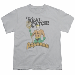 Aquaman Kids Shirt Real Catch Silver T-Shirt