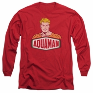 Aquaman Long Sleeve Shirt Sign Red Tee T-Shirt