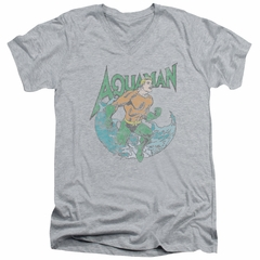 Aquaman Slim Fit V-Neck Shirt Wave Athletic Heather T-Shirt