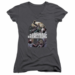 Archer & Armstrong Juniors V Neck Shirt Dropping In Charcoal T-Shirt