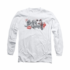 Arkham Knight Shirt Harley Lips Long Sleeve White Tee T-Shirt