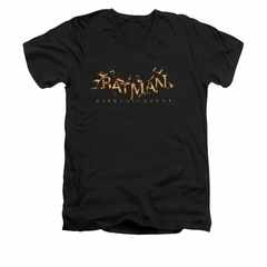 Arkham Knight Shirt Slim Fit V-Neck Flame Logo Black T-Shirt
