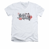 Arkham Knight Shirt Slim Fit V-Neck Harley Lips White T-Shirt