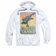 Army Hoodie Treat Em' Rough White Sweatshirt Hoody