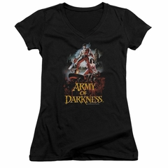 Army Of Darkness Juniors V Neck Shirt Bloody Poster Black T-Shirt