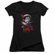 Army Of Darkness Juniors V Neck Shirt Hail To The King Black T-Shirt