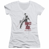 Army Of Darkness Juniors V Neck Shirt Name's Ash White T-Shirt