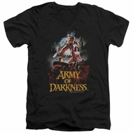 Army Of Darkness Slim Fit V-Neck Shirt Bloody Poster Black T-Shirt