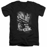 Army Of Darkness Slim Fit V-Neck Shirt Guy With The Gun Black T-Shirt