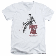 Army Of Darkness Slim Fit V-Neck Shirt Name's Ash White T-Shirt