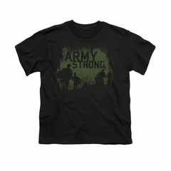 Army Shirt Kids Distressed Army Strong Black T-Shirt