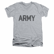 Army Shirt Slim Fit V-Neck PT Gear Athletic Heather T-Shirt