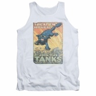 Army Shirt Tank Top Treat Em' Rough White Tanktop