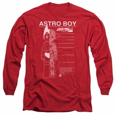 Astro Boy Long Sleeve Shirt Schematics Red Tee T-Shirt
