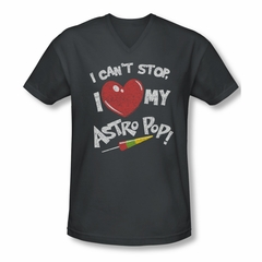 Astro Pop Shirt Slim Fit V-Neck I Can't Stop Charcoal T-Shirt