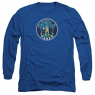 Atari Long Sleeve Shirt Star Raiders Badge Royal Blue Tee T-Shirt