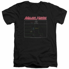 Atari Slim Fit V-Neck Shirt Major Havoc Screen Black T-Shirt