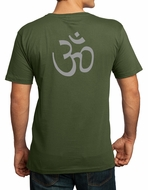 AUM Om T-shirt - Organic Cotton Mens Size - Go Green (Back Print)