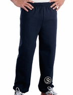 AUM Patch Mens Pants with Elastic Bottom Navy Ankle Print