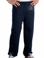 AUM Patch Mens Pants with Elastic Bottom Navy Hip Print