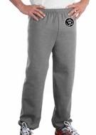 AUM Patch Mens Pants with Elastic Bottom Sports Gray Hip Print