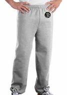 AUM PATCH Mens Yoga OM Pants with Elastic Bottom Ash Gray - Hip Print