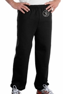 AUM PATCH Mens Yoga OM Pants with Elastic Bottom Black - Hip Print
