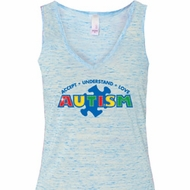 Autism Accept Understand Love Ladies Flowy V-neck Tanktop