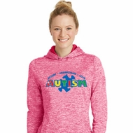 Autism Accept Understand Love Ladies Pink Moisture Wicking Hoodie