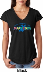 Autism Accept Understand Love Ladies Tri Blend V-Neck Shirt
