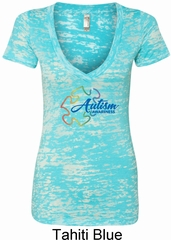 Autism Awareness Puzzle Ladies Burnout V-neck Shirt