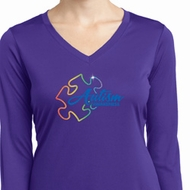 Autism Awareness Puzzle Ladies Dry Wicking Long Sleeve Shirt