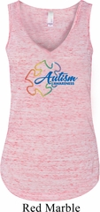 Autism Awareness Puzzle Ladies Flowy V-neck Tanktop