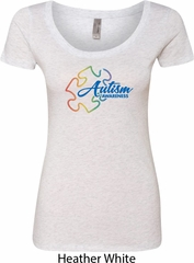 Autism Awareness Puzzle Ladies Scoop Neck Shirt