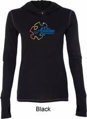 Autism Awareness Puzzle Ladies Tri Blend Hoodie Shirt